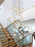 Éclairage en cristal cube à longs cristal Cube Éclairage d'escalier cubique pour le penthouse Hotel Moderne G4 LED Lustre de Cristal Fixture