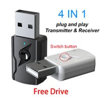 USB 5.0 Bluetooth Music Receiver 4 en 1 de 3,5 mm AUX estéreo adaptador de audio inalámbrico para el transmisor de música Altavoz de TV PC del coche