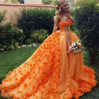 orange prom dresses 2020 off the shoulder handgemachte blumen 3d ballkleid gericht zug abendkleider arabisch abiti da cerimonia da sera