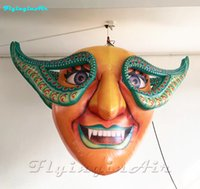 2m Halloween Decorative Mask Inflation Hanging Inflatable Clown with Double Faces for Stage and Party