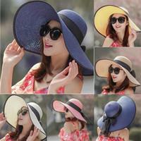 الصيف عارضة الصلبة قبعة الصيف المرأة اللون بيج بريم قبعة من القش الشمس مرن القبعات الواسعة الحافة Bowknot جديد للطي شاطئ كاب سمبريرو # C