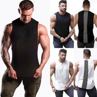 dos homens venda quente elegantes mangas costura Crew-neck mangas Magro Regatas Bodybuilding Esporte Gym Fitness Sports Vest M-XXL