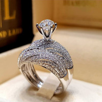 Full Crystal Ring Diamond Zircon Ring Women Engagement Weddi...