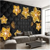 خلفيات الزهرة الذهبية حزمة لينة مجوهرات خلفيات TV خلفية ورق الحائط 3D خلفية مجسمة