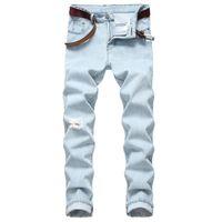 Hombres elástico flaco rasgado del motorista del bordado de la impresión de los pantalones vaqueros destruidos agujero con cinta adhesiva Slim Fit Denim Rayado alta calidad Jean