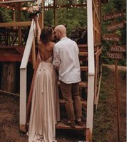 Simple Designed Summer Country Boho Wedding Dresses Sexy Bac...