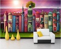3D-Landschaften Wand benutzerdefinierte Creative-Buch Haus Buch Hintergrund Lavendel Herren TV Hintergrund Wand modernes 3D Wandbild an der Wand Tapete Wandbild