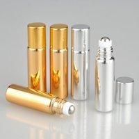 5ml UV Roll On Bottle Or et Argent Huile Essentielle Acier Métal Roller Ball Parfum Parfums Flacons LX6464