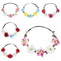 Großhandel Frauen-Rosen-Stirnband-Kranz-Haar-Bogen-Stirnband Handgemachte künstlicher Blumen-Meer-elastische Stirnband Hochzeit Kranz DH1087