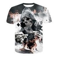 2018 Nuevo Mens Summer Skull Poker Print Hombres Camiseta de manga corta Camiseta 3D Casual Camiseta transpirable Talla grande