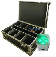 etapa de la boda del club más barata de China DJ luz de la batería DMX inalámbrico wifi 4x18W 6en1 RGBAW + UV motor llevó iluminación hacia arriba para el partido de boda con la Flycase