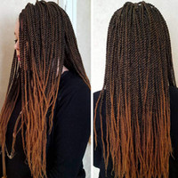 24 Inch Senegalese Twist Crochet Braiding Hair Extensions 32 Roots Straight Box Braids Heat Resistance Synthetic Dreadlocks for African