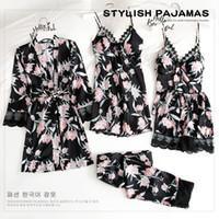 Al por mayor-Nueva primavera para mujer 5PC top de la correa el traje de pantalones pijama conjunto pijamas otoño Home Use ropa de dormir del kimono del traje de baño del vestido de M-XL