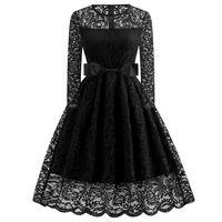 Disponibles Black Lace Long Manguito de manga corta Vestidos de noche Desgaste Party Cocktail Vestidos baratos vestidos de baile Vestidos de Fiesta 2019