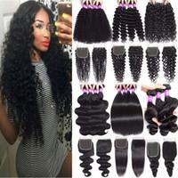 9a paquetes de pelo de Virgen Malasia con cierre de encaje Paquetes de pelo de onda sueltos profundos con cierre de encaje de 4x4 trama de cabello humano con cierre
