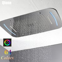 710 * 430mm 욕실 럭셔리 64 색 원격 제어 임베디드 천장 LED 샤워 헤드 강우 폭포 버블 샤워기 304SUS