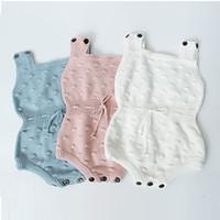 Bebek Unisex Sonbahar Örgü Üçgen Tulum 3 + Katı Kolsuz Pamuk Yün Tulum Çocuk Onesies Kızlar Kıyafetler 0-2 T