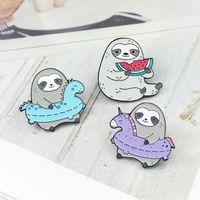 Sloth 수영 반지 먹는 수박 성격 크리 에이 티브 브로치 만화 특수 조수 새로운 옷깃 데님 코트 배지 핀
