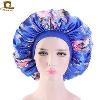 Kadınlar Katı Renk Kafa Wrap İçin Prim Elastik Band ile Çok Büyük Baskı Saten İpeksi Bonnet Uyku Cap