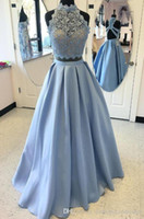 2019 Light Blue Two Piece Prom Dress Lace Top Satin Backless...