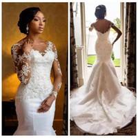 Белый длинный рукав страна старинные русалки атласные свадебные платья свадебные платья плюс размер свадьбы с бисером