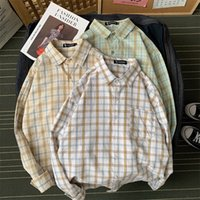 2020 Man Spring Summer Plaid Couple Shirts Mans Korean Long ...