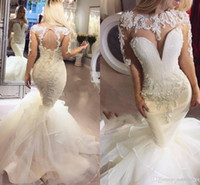 Dubai Sparkly Mermaid Abiti da sposa manica lunga Illusion Corpetto Major Abiti da sposa Perline Cascading Ruffles Country Wedding Dress