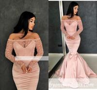 Blush Pink Appliqued Mermaid Prom Dress Sexy Black Girl Off spalla maniche lunghe Abito da sera Plus Size Abiti da spettacolo formale Party