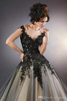 Vestidos de noite em uma categorias Sheer Black Lace Appliques Formal Vestidos de baile Custom Made Floor Gothic Pageant Party Dresses