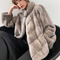 전체 밍크 리얼 모피 정기적 인 중간 슬림 여성 코트 가을 겨울 정기 인기있는 스탠드 칼라 리얼 재킷