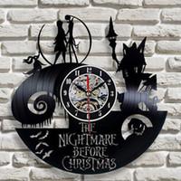 Clock mural vinyle Horloge murale Design Moderne Design Salon Décoration Le cauchemar avant Noël suspendue horloges montre murale décor à la maison T200616