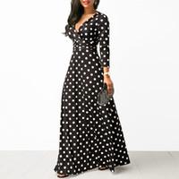 Mujeres Polka Dot Manga larga Boho Vestido elegante Vintage Vestidos Vestidos Fiesta V Cuello Maxi Vestido largo Moda Vestidos de mujer