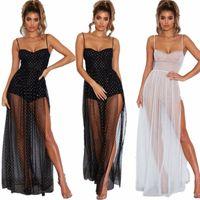 Femmes Spaghetti Sangle transparente robe de maille haute robe fendue robe élégante Summer Sun robe de soleil robe de soirée robe longue maxi robe blanche