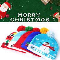بين الوالدين والطفل LED ملون عيد ميلاد سعيد ضوء المتابعة حك قبعة قبعة صغيرة بازهر شعري القبعة للجنسين بينيس محبوك قبعة الإناث سميكة