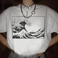 delle donne ZSIIBO T-shirt La grande onda di Kanagawa estate top stampa Harajuku giapponese onda BF-epoca femmina allentata maglietta DYDHGWC193