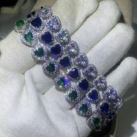Envío de gota Pulsera de lujo impresionante de alta calidad 10kt White Gold Relling Pear Cut Sapphire Gemstones Popular Lucky Muñequera Mujer Pulsera Regalo