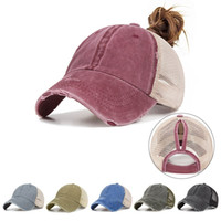 Signore primavera-estate Moda Sport Coda di cavallo Berretto da baseball donne Messy Bun Cappellino Snapback Caps Sun superficie netta traspirante Cappelli