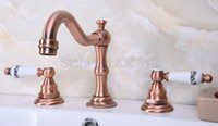 Antique Red Copper Bathroom Widespread Tap Deck Mounted Basi...