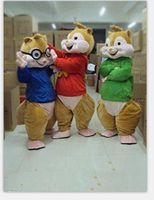 Venda de fábrica de 2019 Alvin e os Esquilos Mascot Costume Chipmunks Cospaly Personagem de Banda Desenhada adulto traje do partido do Dia das Bruxas Carnaval Traje