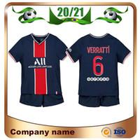 20/21 Neymar JR Kids Kit Fußballtrikots 2021 Paris Home Mbappe Verratti Kinderhemd Cavani Draxler Fußball Uniformen