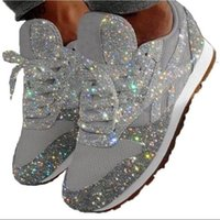 Bling Walking Shoes Mulher Sneakers Mulheres Crystal Lace-Up Feminino Plano Shoe Ladies respirável Casual Zapatos Mujer Tenis Feminino