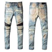 Herren Herrendesignermarke BAL Jeans Klassische Hip Hop Hosen Distressed Ripping Biker Slim Fit Denim Jean Firmati da uomo