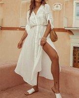 Kadın Mayo Ayualin Beyaz Katı Pamuk Rayon Tunik Elbise Kadınlar Plaj Kapak Yukarı Yüzmek Yaz Uzun Gömlek Elbiseler Yan Bölünmüş Vestidos Boho R