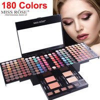Miss Rose 180 couleurs palette de fards à paupières maquillage shimmer mat Kit de contour 2 poudres pour le visage poudre 1 ligneur 6 pinceau éponge maquillage cadeau