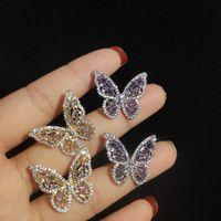 S925 серебряные иглы Корея полые розовые бабочки темперамент серьги леди дамы дамы дикие супер сказочные серьги подарок