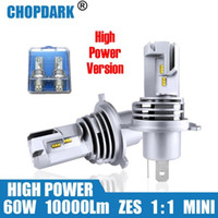 LED H4 Araba Motosiklet LED Far Ampul 60W 10000Lm 6000K 1 çiftinde Plug-9003 Hi / Lo Yüksek Düşük Işın ZES Cips Kablosuz Doğrudan HB2