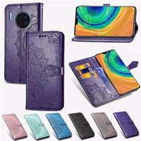Отпечаток цветок кожаный бумажник чехол для Samsung A51 A10e A2 Core A20s A30S A60 Huawei Nova 5 5i Pro Mate 30 Pro наслаждайтесь 10 слот для карт кружева крышка