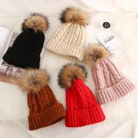 Girls knit wool hat 2020 new kids Twist weaving fur pompom hat children big pompom beanie winter kids knitted warm caps A2904