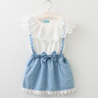 子供の女の子の偽2つの部分のドレス夏のレースホワイトTシャツベビーデニムスカート子供ドレススーツ子供服子供服nc063