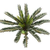 인공 팜 트리 녹색 잎 플라스틱 화분 분재 가지 잎 정원 홈 웨딩 테이블 장식 장식 식물